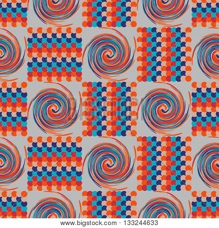 Background vector illustration seamless pattern of colored circles and tornadoes.
