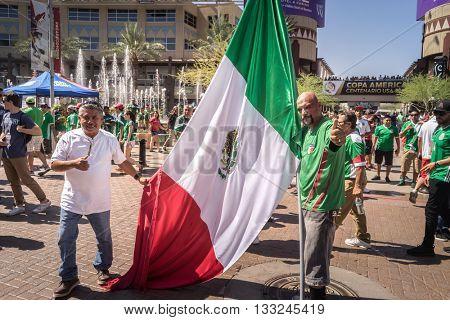 Glendale,Westgate,Phoenix,Arizona,USA, Jun 5th,2016.  Mexico vs Uruguay 2016 Copa America Centenario.  Colorful Mexico fans outside stadium prior to game.