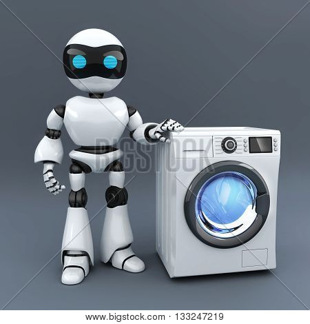 Modern white robot and clothes washer (done in 3d rendering)