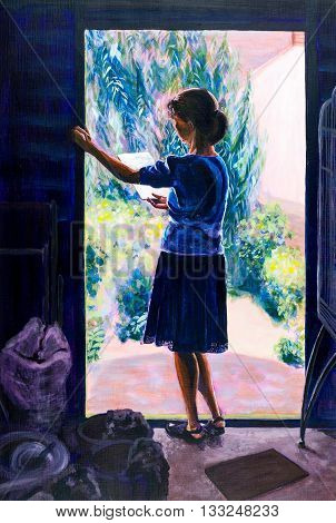 Original acrylic painting of a woman reading in the sunshine of an outbuilding doorway.