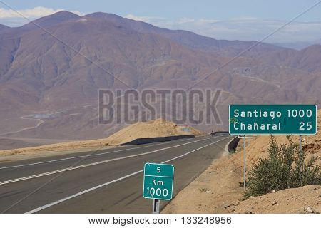 Route 5 through the Atacama desert in Chile, 1,000 kilometres north of Santiago.