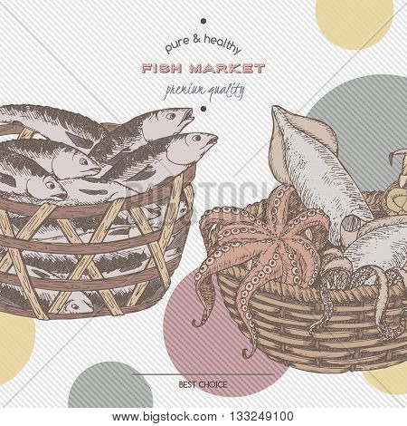 Color fish market template with fish and seafood baskets. Great for markets, fishing, fish processing, canned fish, seafood product label design.
