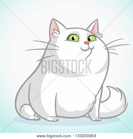 White fat cat with green eyes sitting. Vector cartoon cat illustration
