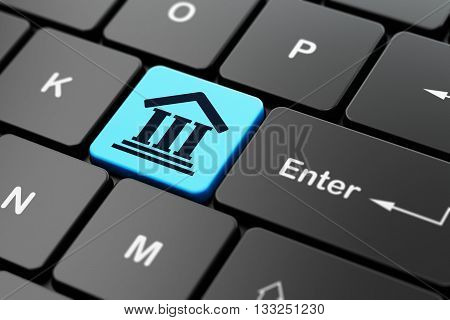 Law concept: computer keyboard with Courthouse icon on enter button background, 3D rendering