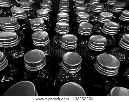 glass bottles cover in black and white color background
