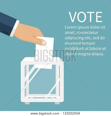Voting election concept. Vector illustration flat design style. Man holds in his hand bulletin puts in ballot box. Vote icon. Casting vote. Politics poll choice. Voter makes choice