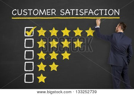 Customer Satisfaction on Blackboard Businessman Work Concept