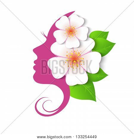 Female face in circle shape. Woman with flowers in hair. Vector beauty floral logo sign label design elements. Trendy concept for beauty salon massage spa natural cosmetics.
