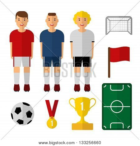 Set of soccer football illustrations. Soccer players. Isolated vectors. Flat design. Web icons. Soccer player trophy ball.