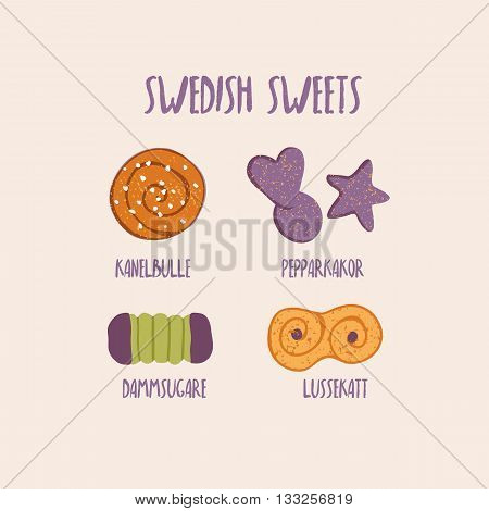 Vector hand drawn illustration of traditional swedish sweets and bakery. Kanelbulle - cinnamon rolls, pepparkakor - gingerbread, lussekatt - saffron bun and dammsugare - chocolate cake