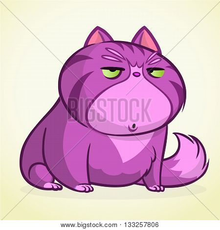 Vector illustration of grumpy purple cat. Fat cartoon cat with a grumpy expression.