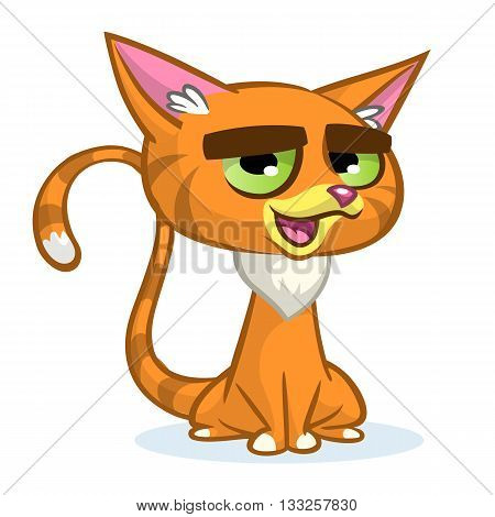 Vector illustration of cartoon ginger cat. Cute red stripped cat with a grumpy expression.