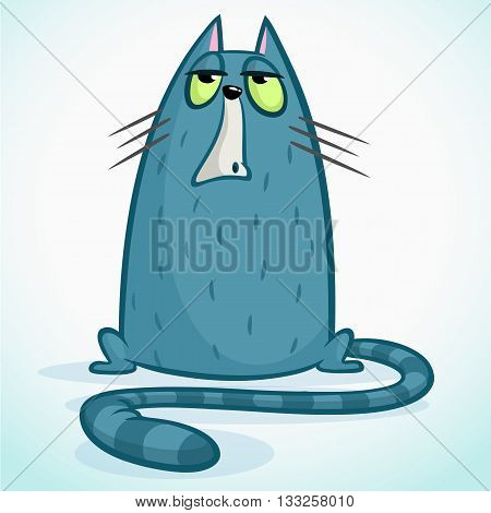 Vector illustration of grumpy blue cat. Cute little cartoon cat with a grumpy expression.