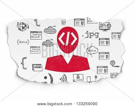 Programming concept: Painted red Programmer icon on Torn Paper background with  Hand Drawn Programming Icons