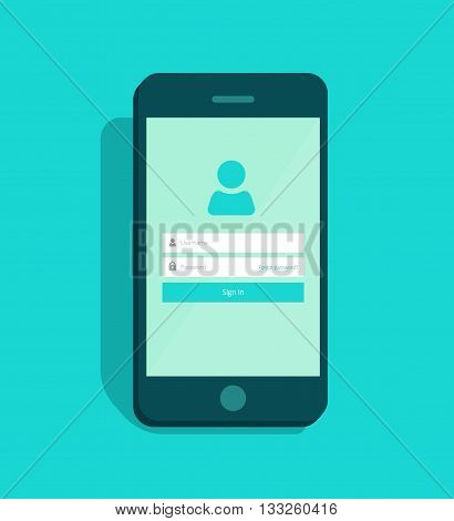 Mobile phone login screen user interface vector, sign in to mobile account app page