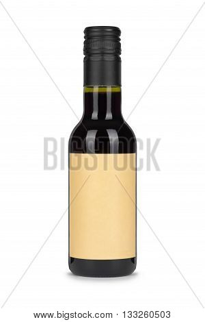 Red wine bottle with paper blank label isolated on white background