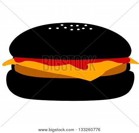 Funky colored illustration of cheese burger with ketchup