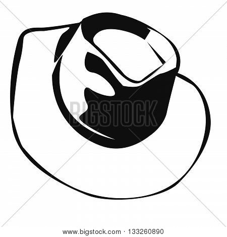 Western style leather cowboy hat tipped downwards