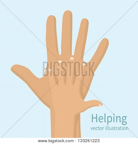Helping hand vector illustration flat design. Caring hand. Symbol caring care help.
