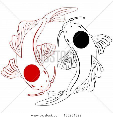 Pisces. Koi fish. Chinese carps hand drawn doodle Ink sketch koi fish