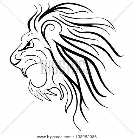 Graphic silhouette roaring lion. Lion tattoo ink sketch