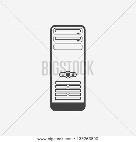 Computer case or workstation monochrome icon. Vector illustration.