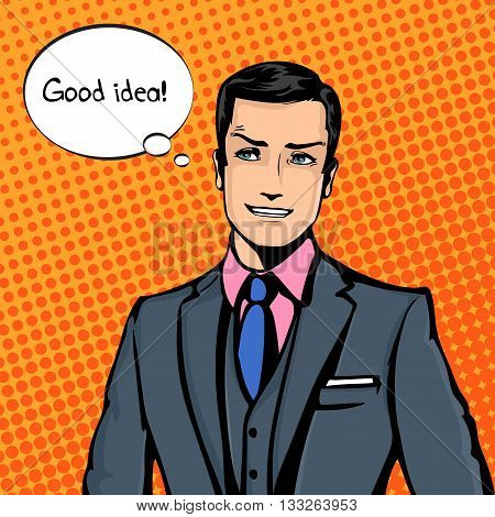Vector illustration of successful businessman smiling, smirking in pop art comics retro style or cartoon style casting shadow, Halftone.