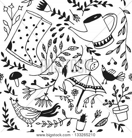 Doodle summer garden seamless pattern vector .