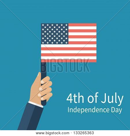 Hand holding American flag isolated on background. USA Flag. Vector illustration flat design style. July fourth independence day. 4th of july Happy independence day United States of America. poster