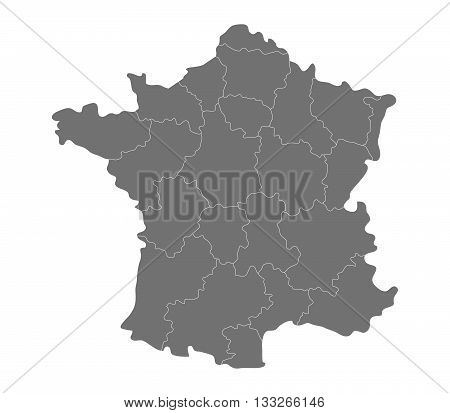 map of France with regions illustrated on a white background