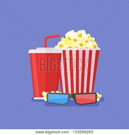 Popcorn, soda takeaway and 3d cinema glasses. Cinema design in flat style, Vector illustration.