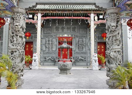 GEORGETOWN Penang MALAYSIA - March 23, 2016: The entrance to the Hainan Temple of George Town, Malaysia on the March 23, 2016 in Penang, Malaysia