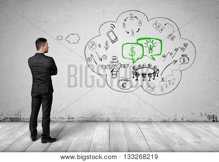 Back view of man standing in front of white wall and thinking about money, technologies, researches, mobiles, communication, interraction. Businessman. Prosperous business. Concept.