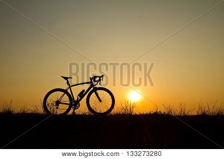 roadbike silhouette in sunrise at chonburi thailand