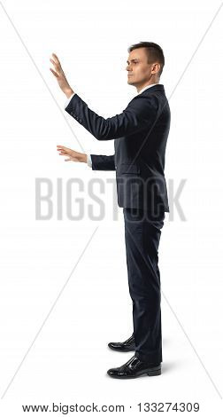 Side view of businessman using touch panel. New future. Thriving society. Digital presentation. Business staff. Digital tablet. Business concept.