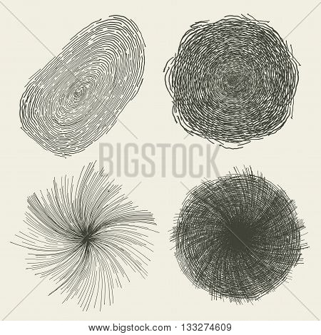Illustration of a set of hand drawn abstract and artistic geometric shapes with primitive circle splashes cracked hole spiral twist and finger print
