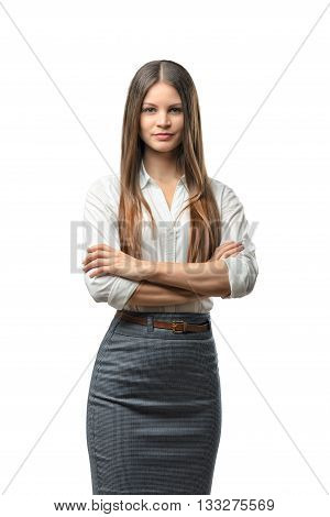 Business woman crossed her arms, isolated on white background. Smart staff. Success and development. Business staff. Office clothes. Dress code. Presentable appearance.