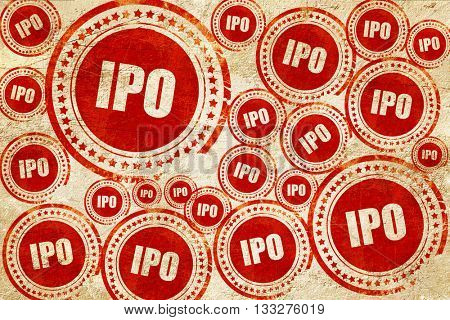 ipo, red stamp on a grunge paper texture