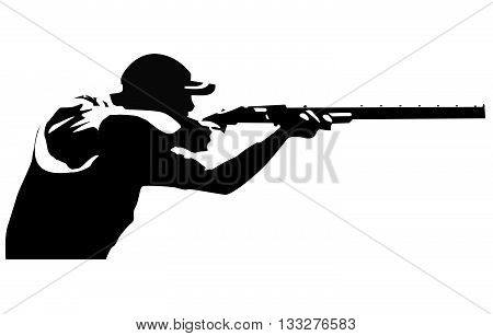 Vector based drawing of a trap shooter taking aim