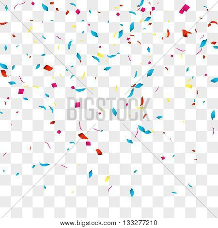 Confetti vector background over transparent grid for holidays, party, events, vector illustartion.