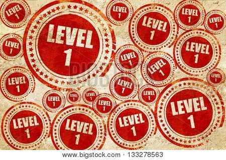 level 1, red stamp on a grunge paper texture