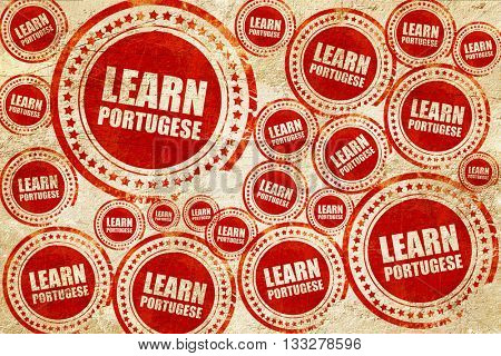learn portugese, red stamp on a grunge paper texture
