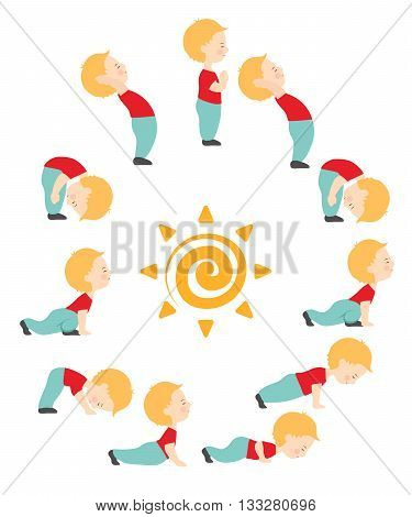 Cartoon vector illustration of yoga exercise Surya namaskar. Sun salutation complex for kids. Cute yoga kid.