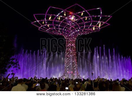 MILAN, ITALY - JUNE 29 2015: The amazing show of Tree of Life at Expo 2015 in Milan Universal Exhibition dedicated to food in June 2015 in Milan Italy