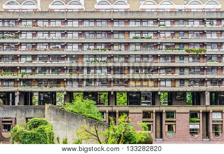 London, UK - June 3, 2016 - Brutalist architecture building in the Barbican Complex London