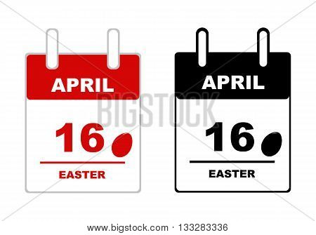 Black and red easter calendar isolated on white