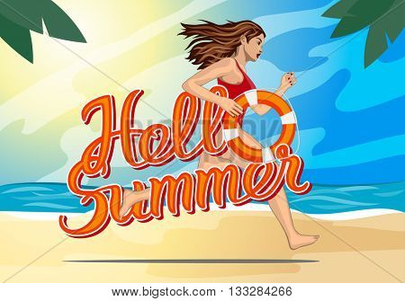 Hello summer lettering and Running woman - lifeguard in a red swimming suit with lifebelt