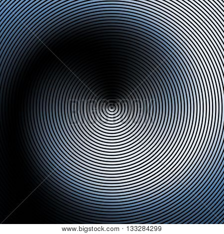 Spiral, concentric lines, circular, rotating background. Blue radial rings on a black background