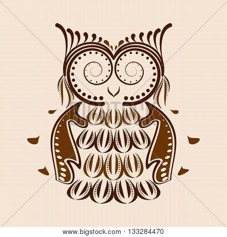 Vector illustration of an owl. Ethnic tribal stylized bird symbol of wisdom.