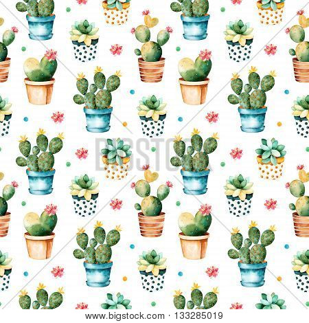 Seamless watercolor texture with cactus plant and succulent plant